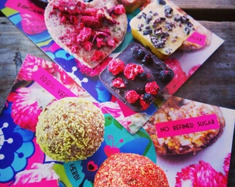 Try all Happy Herbi Treats without nuts*: 5 raw vegan chocolates and 2 energy balls. No nuts added