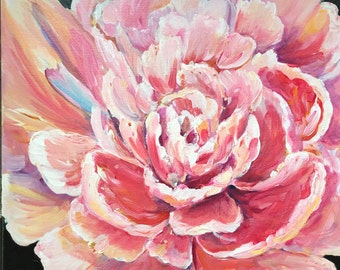 Pink Floral Peony Painting 12x12