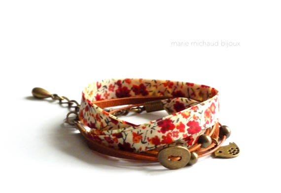 Liberty bracelet,Wrap bracelet,Double wrap bracelet,Textile bracelet,Cuff bracelet,Liberty jewelry,Summer bracelet,Summer jewelry,Liberty