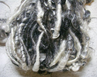 Handspun Corespun Soft Curly Bulky Weight Mohair Art Yarn in Natural Black and White by KnoxFarmFiber for Knit Weave Embellishment