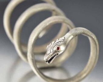 Snake Bracelet, Sterling Silver Victorian Bracelet, Snake Arm Cuff, Garnet Bracelet, Arm Band Wrap Bracelet, Antique Jewelry, Snake Bangle