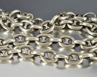 Antique Sterling Silver Anchor Chain Necklace, Victorian Watch Chain Link Collar Necklace, Gucci Chain Style, 1800s Antique Jewelry