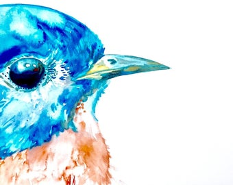 "Bluebird Watercolor Painting, Original Art, 11""x15"""