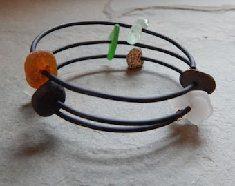 Beach Stone and Sea Glass Wrap Around Bracelet, memory wire bracelet, bangle bracelet, rubber tubing, basalt, granite, beach glass, drilled