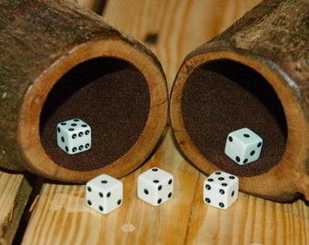 Pair of petite wood dice cups - Oak