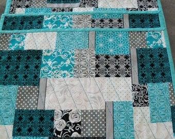 Place Mats Table Linens Blue & Teal Handmade Home Decor Kitchen Decor Set of Six