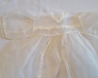 Vintage White Sheer Baby Doll Infant Girl Dress Lacey Ivory