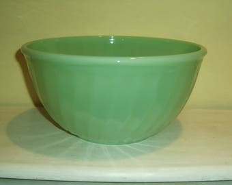 "Jadeite Mixing Bowl Swirl 9"" Fire King Anchor Hocking jade green glass jadite vintage antique old"
