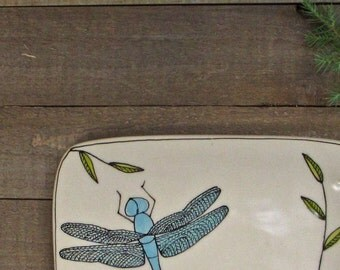 Ceramic dragonfly dish, blue dragonfly  plate, dish with dragonfly design, hand drawn dragonfly, small plate for her.