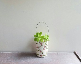 Ladybug vase with wire, small red ladybug hanging wall  vase, hand drawn flower vase with black wire, ceramic spring flower garden vase
