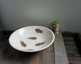 Ceramic insect bowl, hand drawn cockroach bowl, whimsical insect serving bowl.