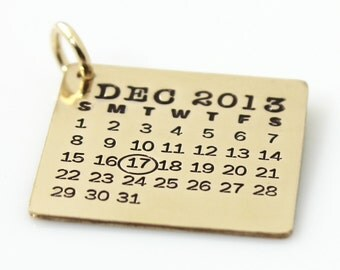 Mark Your Calendar Charm - hand stamped gold filled calendar charm
