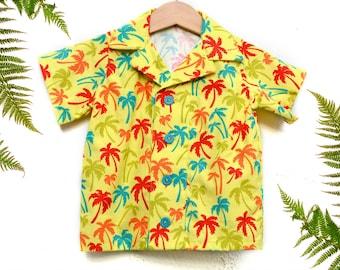 PALM RESORT boys handmade hawaiian shirt, palm trees baby boy shirt, tropical toddler shirt, boy summer shirt, boys summer clothes