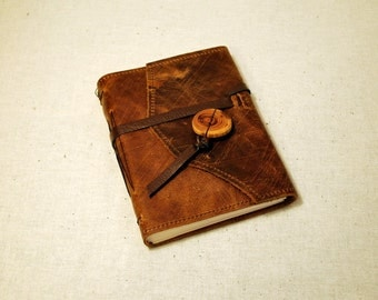 SUMMER SALE:  Medium Etched Leather Journal with Recycled Paper