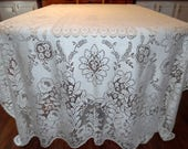 Vintage White Quaker Lace Tablecloth Lace Overlay 62 X 84 Inches ECS SVFT