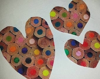 Iron on Coloured Pencil Top Love Hearts Transfer Appliques