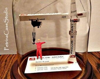 Rigger Business Card Sculpture- Construction Tower Crane 1459 -or any figure, hobby, sport or Profession by Petrina Case Studio