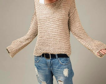 Simple is the best - Hand knit sweater Eco cotton oversized light wheat/ oat pullover sweater