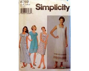 Simplicity Pattern 8769 Misses Miss Petite Dress Size K (8-10-12)