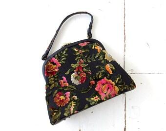 Vintage Velvet Purse | Tapestry Bag | Extra Large | 60s Floral Handbag