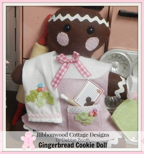 Sewing Pattern Gingerbread Cookie Felt Doll and Accessories - PDF Sewing Pattern