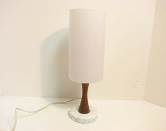 Mid Century Sweden Lamp White Frosted Glass Marble Teak Swedish Desk Accent Lamp  Uno & Osten Kristiansson Era Vintage