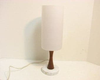 Mid Century Sweden Lamp, White Frosted Glass, Marble Teak Swedish Desk Accent Vintage Lamp Lighting,  Uno & Osten Kristiansson Era