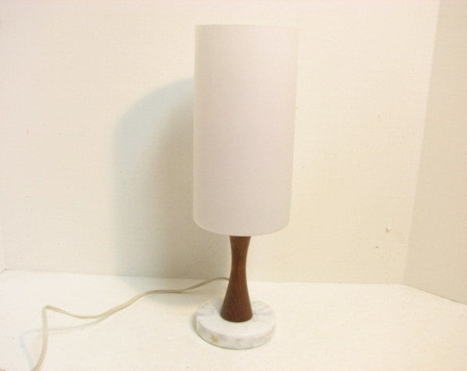 Mid Century Sweden Vintage Lamp, White Frosted Glass, Marble Teak Swedish Desk Accent Lamp, 1960s Lighting,  Uno & Osten Kristiansson Era