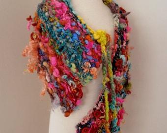 sale Scarf Collar  Hand Spun Hand Knit  Art Yarn multicolor brights merino mohair locks silk and more