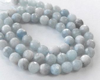 Aquamarine Gemstone.  Faceted Round Aquamarine. Semi Precious Gemstone. Your Choice  (55aqmx)