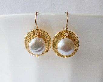 Pearl Dangle Earrings, Unique Handmade Pearl Earrings by Vanessa Perini