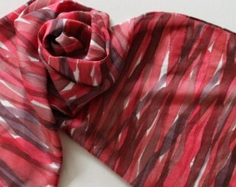 Hand Painted Silk Scarf - Handpainted Scarves Candy Cane Red Ruby Dark Apple Cherry Maroon White Christmas Holiday Valentines Day