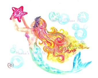 Mermaid art, Under the Sea art, Beach art, Mermaid Princess, Mermaid Goddess, nursery wall art, kids room, bathroom wall art
