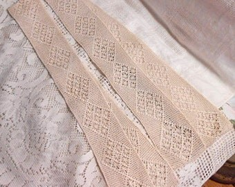 2 Antique CROCHET LACE BANDS Edwardian Cream Diamond Star & Lattice Design Smooth Edge Pillowcase Curtain Headband Lingerie Lampshade 3 x 46