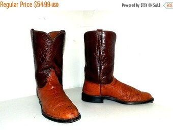ON SALE Brown Leather Ostrich  Broken in Lucchese cowboy boots size 9 EE or Cowgirl size 10.5 extra wide width