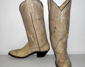 Women Boots Size 8 A Cowboy Shoes Narrow Dan Post Exotic Eel Leather Boho Western