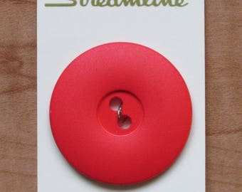 """Large Coral Red Vintage Button, 1 1/2"""" (37mm) wide Round (Additional buttons available) Streamline"""