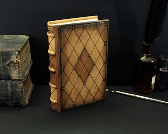"""Leather Journal / Blank Book - Brown Handpainted Leather, """"Kaleidoscope of Magic"""""""