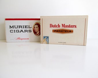 Vintage Cigar Boxes Set of Two Storage Tobacciana Collection Dutch Masters Muriel Magnum