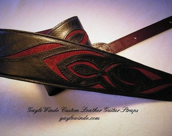 """Custom Black Leather Guitar Strap with Intricate Burgundy Suede Inlay / Padded / Leather Lined / Ergonomic / Adjustable / 3"""" Wide"""
