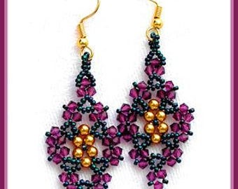 Beaded earring tutorial - Crystal Leaves earrings - Triangle weave