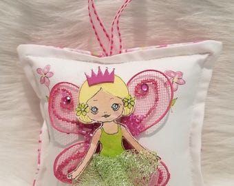 Girl Tooth Fairy Pillow - Hand Painted - Cloth Fairy with Blonde Hair -  Add name for FREE