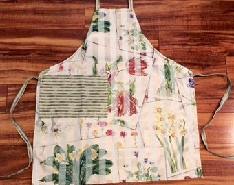 GARDEN GALA chef style apron in tapestry style floral print with satin overlay pinstripes