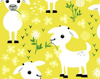 Goat Fabric - Baby Goats By Heleenvanbuul - Nursery Baby Goat Cotton Fabric By The Yard With Spoonflower