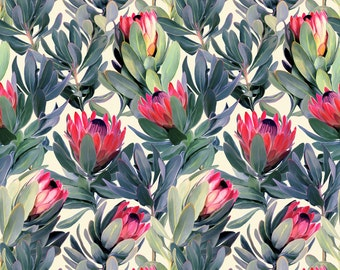 Floral Jungle Fabric - Painted Protea Floral By Micklyn - Protea Cotton Fabric By The Yard With Spoonflower