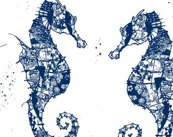 Blue Abstract Seahorse Fabric - Seahorse Blues By Babyancestree - Navy Beach Cotton Fabric By The Yard With Spoonflower
