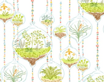 Watercolor Terrarium Fabric - Watercolor Terrariums By Vinpauld - Botanical Terrarium Cotton Fabric By The Yard With Spoonflower