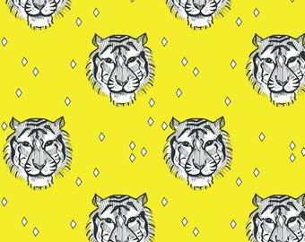 Tiger Fabric - Mustard Tiger By Elvelyckan - Yellow Geometric Tiger Cotton Fabric By The Yard With Spoonflower