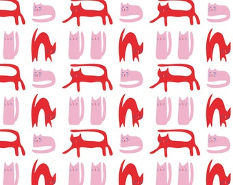 Pink + Red Cats Fabric - Cats On A Sunny Day By Solvejg - Mod Cats Cotton Fabric By The Yard With Spoonflower