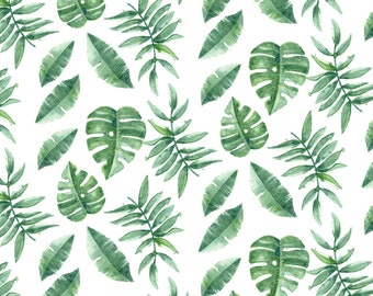 Monstera Fabric - Tropical Leaves Palm Leaf Frawn Banana Water Color On White By Khaus - Green Cotton Fabric By The Yard With Spoonflower